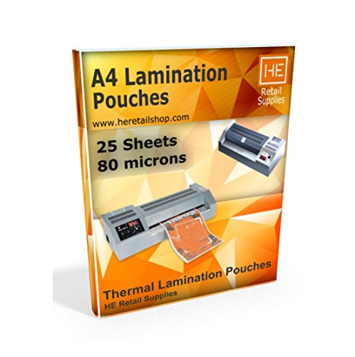 A4 Lamination Sheets Pouch 80 micron, 225x310mm, for Hot Laminator, 25 sheets