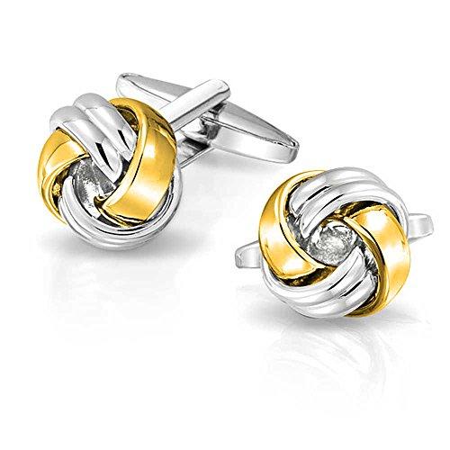 Bling Jewelry Twist Love Noeud Tissé Tresed Cable Ball Shirt Boutons de Manchette pour Les Hommes Executive Groom Cadeau Two Tone Gold Plaqué Acier In