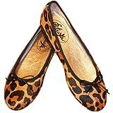 Petruska Leoparden-Print Ballerinas mit klassischer schwarzer Schleife - Ballerinas Massai by Farbton Cognac (40)