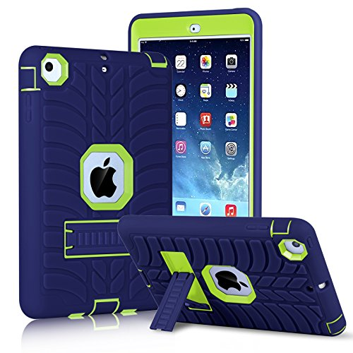Innens for iPad Mini Case, iPad Mini 2 Case, iPad Mini 3 Case, iPad mini Retina Case, Heavy Duty Three Layer Armor Defender Protective Cover with Kickstand for iPad Mini 1/2/3 (Yellow/Navy Blue)