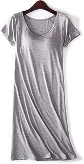 Women`s Modal Padded Built-in-Bra Dresses Short-Sleeve Crewneck T-Shirts Wireless Bra Tops Tee