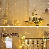 Areskey Kurz Vorhang Lichterketten 3M 90 LED Fenster Eiszapfen Lichter
