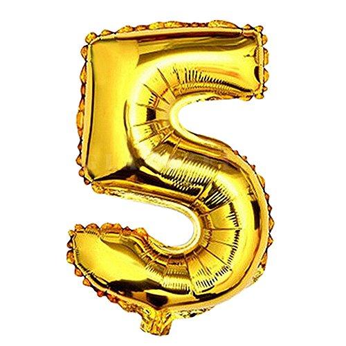 Glanzzeit - 81,3 cm - Ballon en feuille d'aluminium dorée - Lettres A à Z - Chiffres de 0 à 9 - Décoration de bal, mariage et fête d'anniversaire