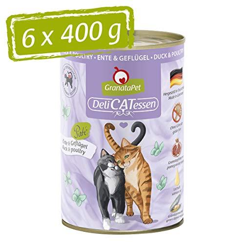 GranataPet Delicatessen Ente & Geflügel, Nassfutter für Katzen, Katzenfutter für Feinschmecker, Futter ohne Getreide & ohne Zuckerzusätze, 6 x 400 g