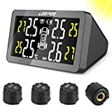 LEEPEE Car Solar Power Tire Pressure Monitoring System, Wireless & Smart LCD Display, with 4 External TPMS Sensor, Real-time Monitor Alarm Tire Pressure and Temperature(0~3.5Bar)