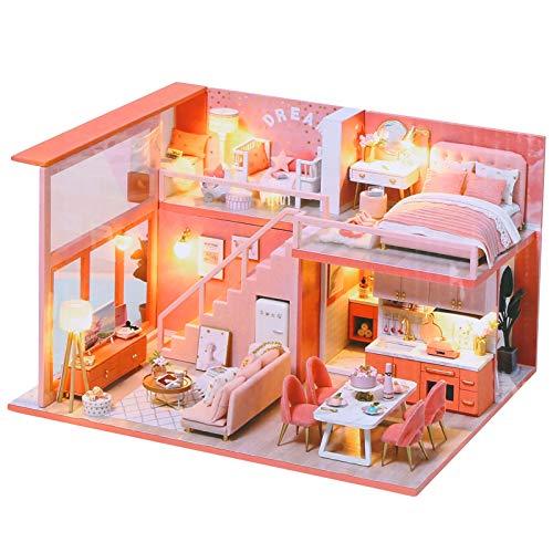 Cryfokt Casa de muñecas en Miniatura con Muebles, Kit de casa de muñecas DIY con Luces LED Muebles Habitación Creativa Mini casa de muñecas Regalos para niñas, Amigos, niños, mamá(110 V)