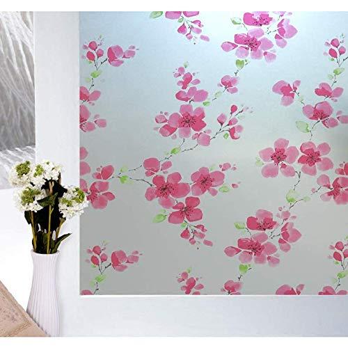N / A Dekorativer Glasvorhang Selbstklebende rosa Pflaume undurchsichtige Privatsphäre UV-Schutzglasfolie für Glatte Oberfläche von Glasfliesenmöbeln A1445x200cm