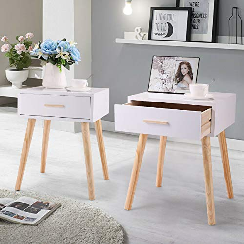Vanimeu Set of 2 Bedside Tables White with Drawers Storage Bedroom Furniture Wooden (White)