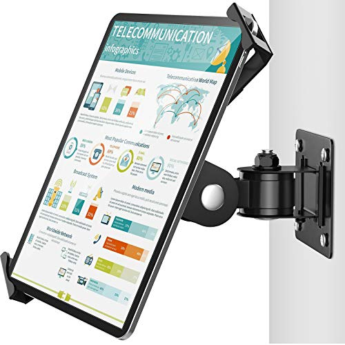 AboveTEK Tablet Wall Mount - Fits 7 - 11' Tablets Including iPad, Galaxy Tab, Slate, Fire and More -Anti Theft Security Lock and Key - Articulating Swivel Holder for Portrait and Landscape Mode
