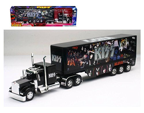 New Ray New 1:32 NEWRAY Truck & Trailer Collection - Black Kenworth W900 - KISS Diecast Model Toys