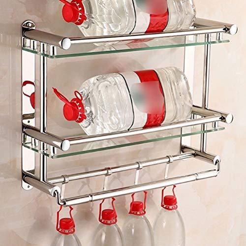 QingH yy Supporto da Parete for Doppio lavabo in Vetro da Bagno, Spazzolato SUS304 in Acciaio Inox 3 portasciugamani con 4 Ganci YueB HG (Size : 60cm)