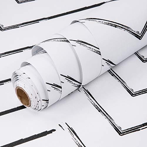 MEIBAN Papel Adhesivo para Muebles 45cmX5m Blanco Negro Raya Textura mate Papel Pintado Vinilo Cocina Impermeable lámina decorativa