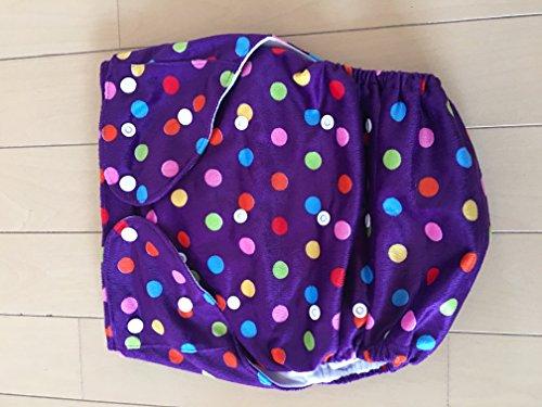 Green大人介護用布おむつカバー 起毛紫水玉柄 サイズ調整可 SML対応