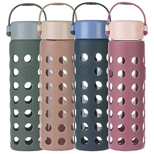 weitinena 23 OZ Glasflasche Glas Wasser Flasche Siliziumgel Sleeve Leak Proof Lid 650ml Kapazit BPA Free