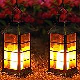 Solar Laterne mit LED Kerze und Täuschend echt Wirkenden Flacker-Effekt, OxyLED IP44 Festive Beleuchtung für Deko Garten(2 Stück)
