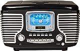 Crosley CR612B-BK Corsair Tabletop AM/FM Bluetooth Radio with CD Player and Dual Alarm Clock, Black