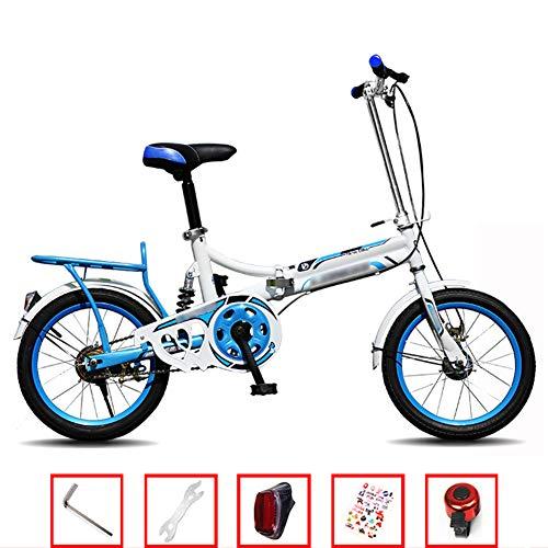 YSHCA Vouwfiets, 16 inch, koolstofstalen frame, fiets, vouwfiets met standaard bagagedrager en comfortabel zadel campingfiets citybike