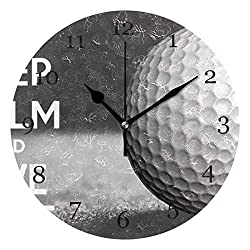 VVIEER Silent Non Ticking Wall Clock 10 Inch Home Decor Round Easy to Hang Picture Keep Calm Golf Ball Sport