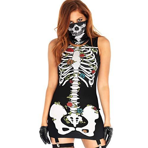 Mujer Halloween Disfraz de Esqueleto, Vestido ceido de Sin MangasFalda de Estampado Floral,Sexy Mini Dress+Mscara para Carnaval/Navidad/Partido de Desfile