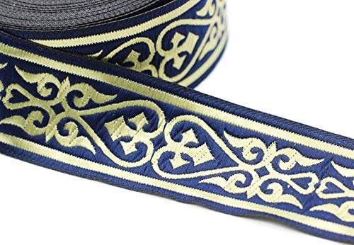 11 Yard Spool 1.37 inches Wide Royal Celtic Heart Jacquard Ribbons Heart Embroidered Ribbons Jacquard Trim Ribbon Trim Sewing Trims