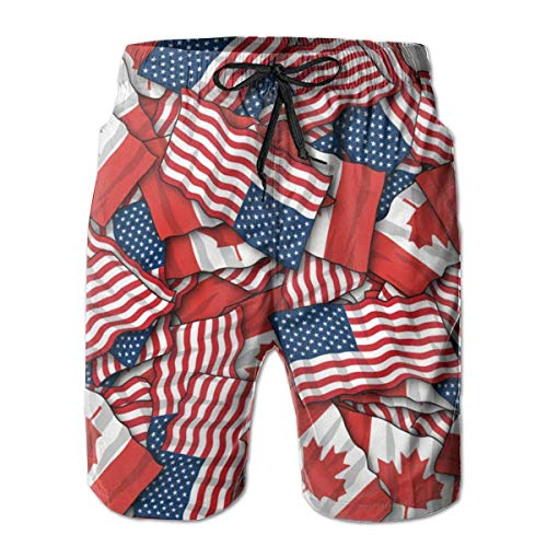 Jieaiuoo Male Board Shorts Swimtrunks Canadian American Flag Drawstring Elastic Waist Athletic Beach Summer Outfit Pants L