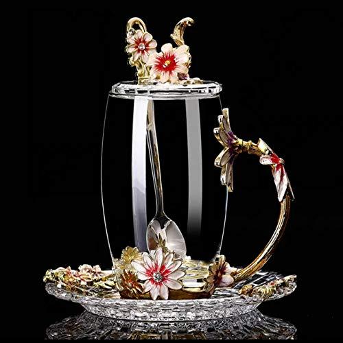 feichang Taza de cristal con diseño de flores, taza de té, taza de té perfumada, taza de zumo de limón, taza de cristal para parejas, taza de barco (color: caqui oscuro)