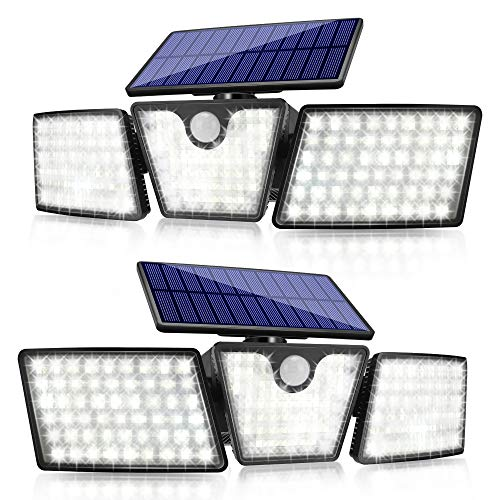New Solar Lights Outdoor,SMY Motion Sensor Security Lights with 265 LEDs 2400Lumen,Wireless Solar Flood Lights 3 Adjustable Heads,280° Wide Angle Illumination,P65 Waterproof for Garden Garage (2Pack)