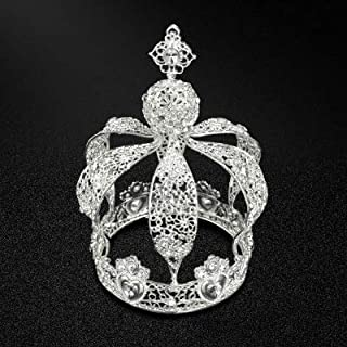 Height 7'' Luxury Vintage Gold Queen King Crown Cake Topper for Wedding Birthday Party Cake Decoration (Silver)
