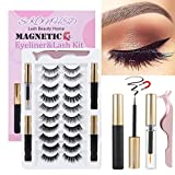 SKONHED 2020 Upgraded Magnetic Eyelashes and Eyeliner Kit,10 Pairs Reusable Magnetic Eyelashes with 3 Tubes Magnetic Eyeliner,Handmade Glue-free lashes Tweezer & Makeup Remover Included (STYLE 02)
