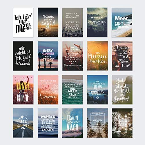 VISUAL STATEMENTS Postkartenset; mit 20 Postkarten - Tagträumer, Karten mit verschiedenen Sprüchen; schöne Spruchkarten im Set; hübsche Motivkarten - Postkarten in XXL – eine schöne Geschenkidee
