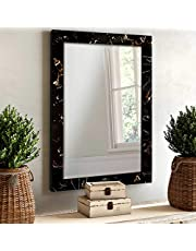 Art Street Marble Finish Wall Decorative Mirror for Home and Bathroom - 12X18 Inchs, Color -Black