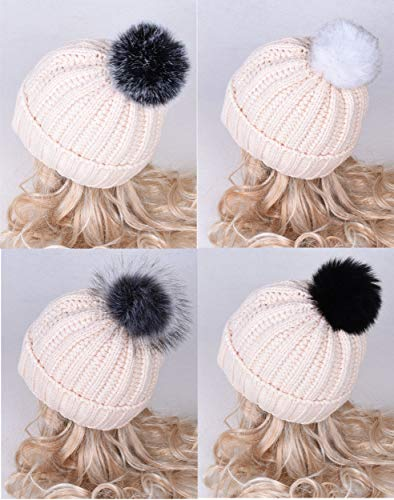 DIY 12pcs Faux Fur Pom Pom Ball for Knitting Hat with Snap Button, Beanie Hat Fur Ball, Attachable Pompom Ball, Work Great with Knitting Loom