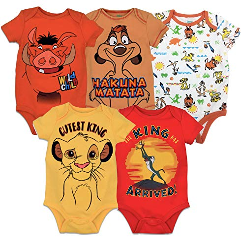 Disney Lion King Baby Boys 5 Pack Short Sleeve Bodysuit 12 Months