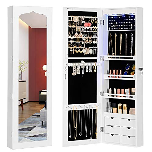 SONGMICS Extended 4.9' Depth LED Jewelry Cabinet Armoire with 6 Drawers Lockable Door/Wall Mounted Jewelry Organizer White Patented UJJC88W