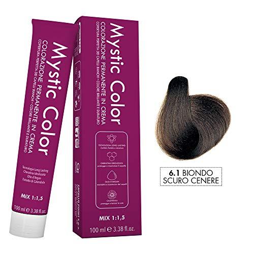 Mystic Color - Crème Colorante Permanente à l'Huile d'Argan et au Calendula - Coloration Longue Durée - Couleur Blond Cendré Foncé 6.1 - 100ml