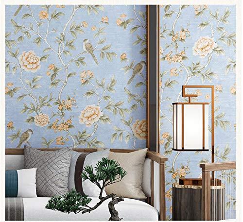 Meaosyy Vögel Bäume Blumen Chinoiserie Tapete Rollt Vögel Baum Blossom Statement 3D Wall Paper Roll Für Hintergrund