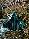 Capa verde élfica cosplay medieval de terciopelo larga con capucha para mujer y hombre
