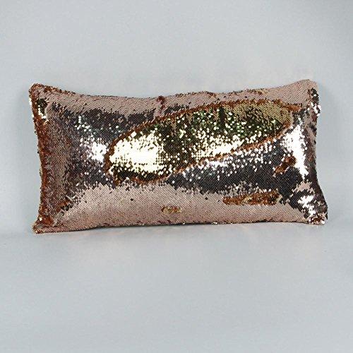 Oreiller de paillettes de couleur de 3pcs, taie d'oreiller longue et élégante de voiture 30 * 60cm , champagne + gold , 30*60cm