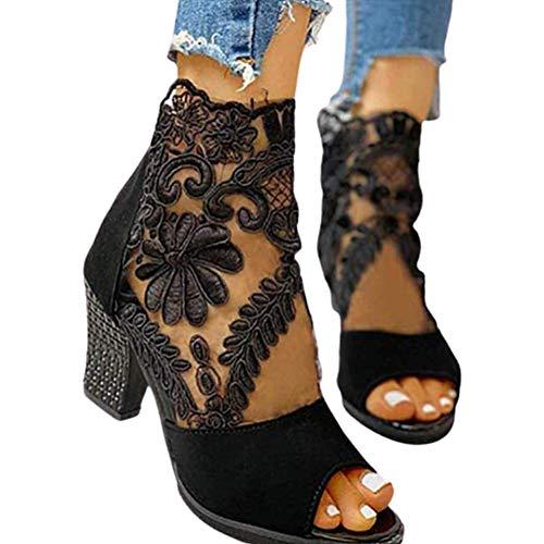 Sallypan Frauen-Knöchel-Aufladungen, Blumen-Spitze Netzeinsatz Chunky Stiefel mit Absatz-Fisch-Mund öffnet Zehe-Sandelholz-Rückseiten-Reißverschluss-Partei-Schuhe,Schwarz,42