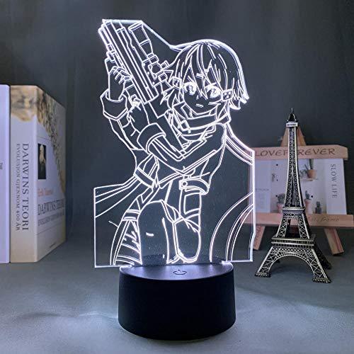 Lámpara de noche 3D anime Sinon Asada Sword Art Online LED lámpara de noche para niños, decoración visual, lámpara de mesa, manga, gadget regalo, juguete, 7 colores Touch HYMJ