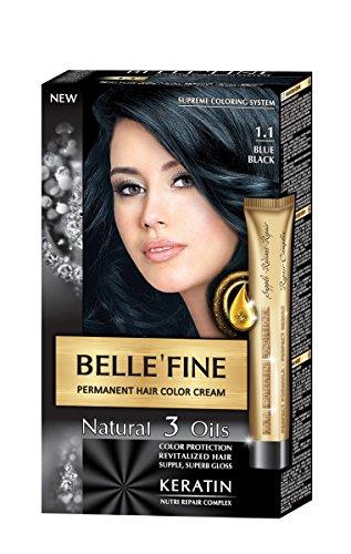BELLE'FINE® - Coloration crème pour cheveux Black Series - luxueux - coloration naturelle/permanente - 3 huiles/kératine - NOIR BLEUTÉ