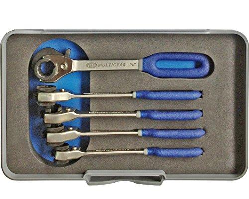 Kunzer 7LRS05 Leitungsratschenschlüsselsatz, 5-Teilig im Koffer