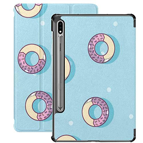 Funda para Galaxy Tab S7 Funda Delgada y Ligera con Soporte para Tableta Samsung Galaxy Tab S7 de 11 Pulgadas Sm-t870 Sm-t875 Sm-t878 2020 Release, Donuts Postre Dibujos Animados Vector de Fondo