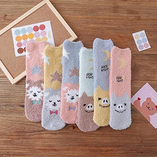 MIWNXM 10 Pares Winter Coral Velvet Thick Home Women Socks Cartoon Cute Casual Moon Star Cotton Socks Pig...