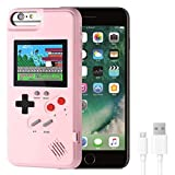 VKSG Gameboy Case for iPhone, Retro 3D Phone Case Handheld Game Console with 36 Classic Game, Full Color Display Shockproof Video Game Phone Cover for iPhone 6P/6SP/7P/8P (Pink)