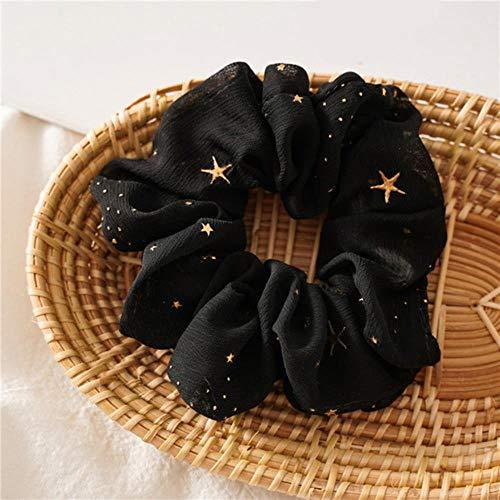 Mode Étoile En Mousseline de Soie Grand Intestin Cercle Coiffe Femelle Libération Cercle Cheveux Anneau Femmes Élastique Cheveux Bandes Cheveux Accessoires, Noir