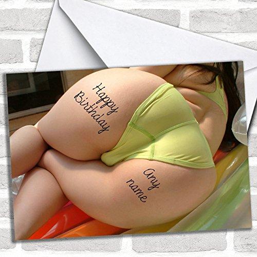 Big Bum Tattoo Verjaardagskaart met envelop, kan volledig gepersonaliseerd worden, snel en gratis verzonden