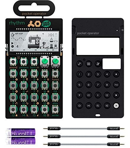 Teenage Engineering PO-12 Pocket Operator Rhythm Drum Machine Bundle with CA-X Silicone Case, Blucoil 3-Pack of 7' Audio Aux Cables, and 2 AAA Batteries