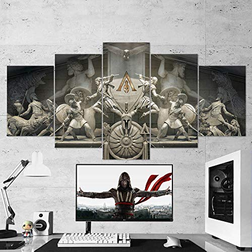"""BA-CO Assassin's Creed Odyssey Toile Murale encadrée encadrée Assassin's Creed 70 prête à Poser Poster Assassin's Creed Small 23""""x13"""" Blanc"""