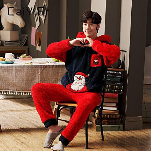 WFE&QFN Pijamas navideñosConjunto de Pijamas Familiares de Navidad, Pijamas cálidos de Invierno para Parejas, Ropa de Dormir de Franela Gruesa, Regalo Extravagante de Halloween, Ropa de
